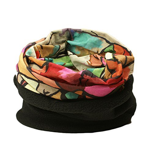 Snood multifonctionnel pour les femmes - foulard, chapeau, cache-cou, capuche avec section polaire Multicolore