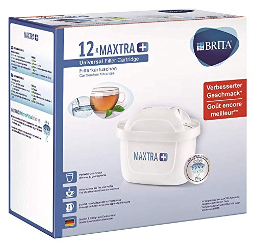 BRITA Filterkartuschen MAXTRA+ im 12er Pack - Kartuschen für alle BRITA Wasserfilter zur Reduzierung von Kalk, Chlor & geschmacksstörenden Stoffen im Leitungswasser