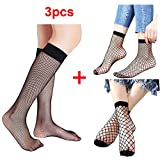 Imixcity 2 Paires de Femme Résille Chaussette Sexy Mode Noir Fishnet Socks de Ankle Sock élastique Hold Up