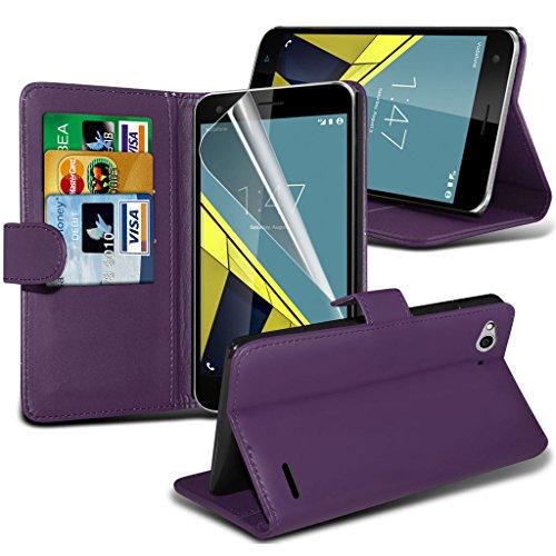 Gadget Giant® Vodafone Smart Ultra 6 PU Lederetui Buch-Stil Handy Hülle mit Displayschutz-Folie & Eingabestift - Purple Farbe