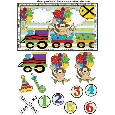 Scimmia assortiti età compleanno treno Topper/Card 2anteriore Sharon Poore - Scimmia Treno