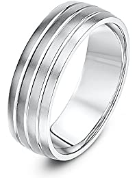 Theia Unisex Sterling Silver Matt Finish with Three Polished Grooves 7 mm Wedding Ring