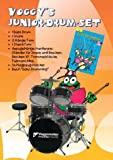 Voggy's Junior-Drum-Set. Komplett-Set. 1 Bass Drum, 1 Snare, 2 Hänge-Tom, 1 Stand-Tom, Trommelstöcke, Fussmaschine, Schlagzeug-Hocker sowie das Lehrbuch Easy Drumming