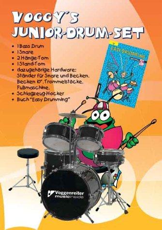 """Voggy's Junior-Drum-Set. Komplett-Set. 1 Bass Drum, 1 Snare, 2 Hänge-Tom, 1 Stand-Tom, Trommelstöcke, Fussmaschine, Schlagzeug-Hocker sowie das Lehrbuch """"Easy Drumming"""""""