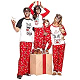 douleway Pijamas de Navidad Familia, Ropa de Noche Homewear Algodón Camisas de Manga Corta + Pantalones Largos Sudadera Invierno Conjunto de Pijamas Familiar para Dad Mom Niños Bebé
