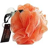 Esponja exfoliante de malla de nylon para el cuerpo/ Puff de baño/ color naranja- Baño y ducha