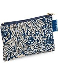 Blue Badge Company Gepolsterte Baumwolle Reißverschluss bis Kosmetik Geldbeutel mit wasserdichtem Futter, kleine William Morris Ringelblume Indigo Print