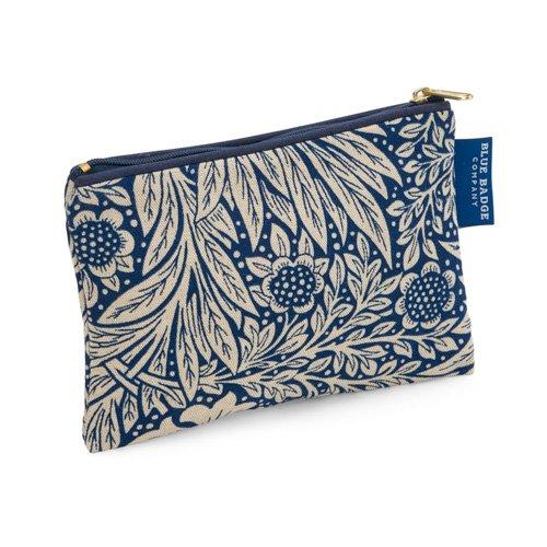 Blue Badge Company Coton rembourré Zip jusqu'à maquillage avec doublure imperméable, Petit William Morris souci Indigo d'impression