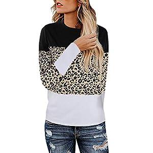 Toasye Damen Langarm T-Shirt mit Leopardenmuster und Rundhalsausschnitt Casual Tops Freizeit T-Shirt Langarmshirts Hemd