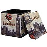 [en.casa] Faltbarer Sitzhocker (30 x 30 x 30 cm) zugleich Aufbewahrungsbox - Motiv London