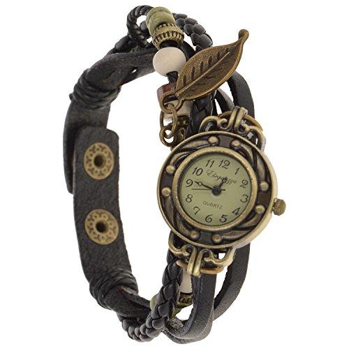Eleganzza women's casual watch ladies bracelet watch leaf (black)