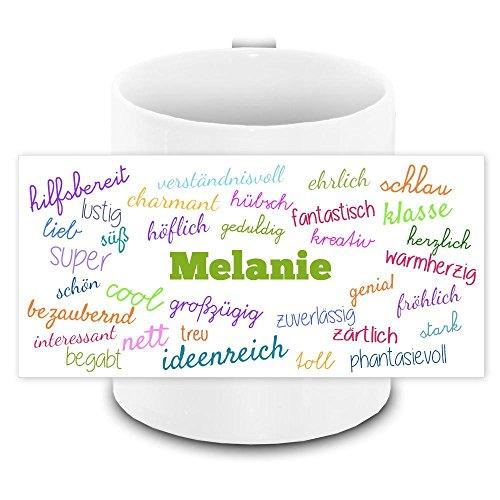 Tasse mit Namen Melanie und positiven Eigenschaften in Schreibschrift , weiss | Freundschafts-Tasse - Namens-Tasse 7