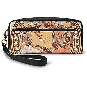 Diseño étnico Hippie con Flores y una Mujer con el Pelo parado en el Medio Lámina pequeña Bolsa de Maquillaje Estuche de lápices 20cm * 5.5cm * 8.5cm