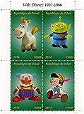 Toy Story et Pinocchio Disney et Pixar feuillet de timbres avec 4 timbres neufs / 2014 / Tchad / 1000F