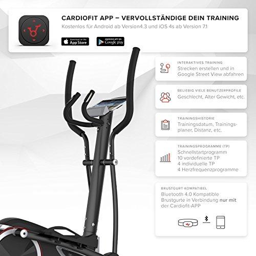 SportPlus Crosstrainer mit App-Steuerung, Google Street View, Wattanzeige, ca. 17kg Schwungmasse, 24 Widerstandsstufen, Handpulssensoren, Nutzergewicht bis 150kg, Sicherheit geprüft Bild 5*