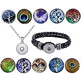Morella Damen 10 Click-Button Starter-Set Baum des Lebens mit Armband und Halskette 70 cm