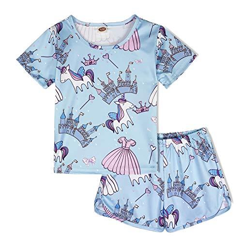 Modaioo ragazze unicorno manica corta per bambini 2 pezzi pigiama set (8017,castle,130)
