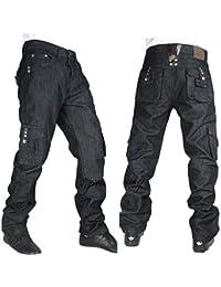 Vrai Peviani Pour Hommes Cargo G Jeans, Hip Hop Urbain Money Étoile Pierre Combat Noir