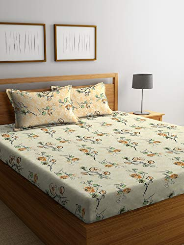 Bombay Dyeing Cynthia Polycotton Double Bedsheet with 2 Pillow Covers - Brown