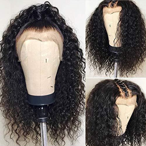 ShowJarlly 13x4 Lace Front Echthaar Perücken für schwarze Frauen Remy brasilianische lockige Lace Front Perücke Pre gezupft mit 180% Dichte (16inch 180% density) -