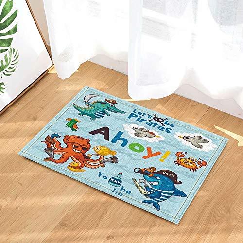 rine Dekor Octopus und Hai wie Piraten für Educate Kids Badteppiche Rutschfeste Fußmatte Boden Eingangsbereiche Indoor Front Door Mat Kinder Badmatte 50x80cm Bad-Accessoires ()