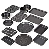 Prochef Teflon Non-Stick Premium Coated  12 Cup Muffin Tray - Length 35cm x Width 27cm - High Quality Carbon Steel for Muffins or Cupcakes - Silver