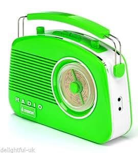 Steepletone Brighton 1950's Portable Retro Style Rotary Radio - Green/White