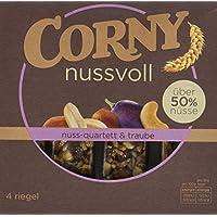 CORNY nussvoll Nuss-Quartett und Traube, Nussriegel mit über 50% Nüssen, 96g Schachtel mit 4 Riegeln