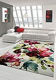 Designer Teppich Moderner Teppich Wohnzimmer Teppich Blumenmotiv Creme Grün Türkis Rosa Pink Größe 120x170 cm