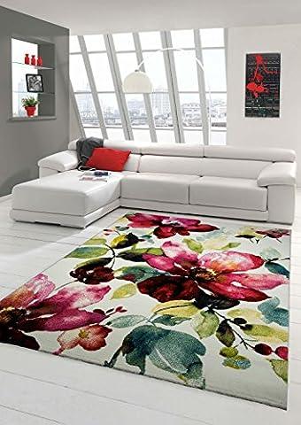 Designer Teppich Moderner Teppich Wohnzimmer Teppich Blumenmotiv Creme Grün Türkis Rosa Pink Größe 120x170