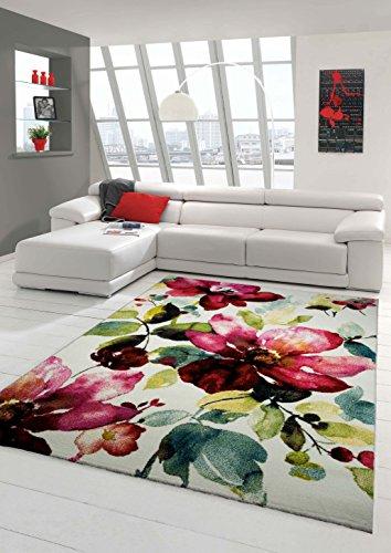 Teppich Blumen (Designer Teppich Moderner Teppich Wohnzimmer Teppich Blumenmotiv Creme Grün Türkis Rosa Pink Größe 160x230 cm)