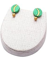 Terramart_ Handmade Terracotta Earring Set Jewellery For Women / Girls ( Parrotgreen & Gold )