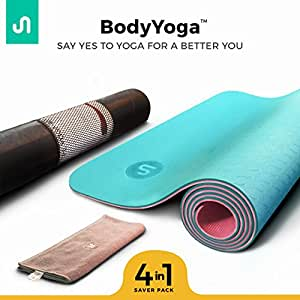 BodyBand TPE Exercise and Meditation Anti-Slip Yoga Mat with Carrying Bag and Workout Towel (Mint Blue,72'' x 24'')