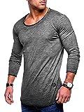 MT Styles Herren Oversize Longsleeve Crew Neck Sweatshirt T-Shirt MT-7315 (Dunkelgrau, XXL)