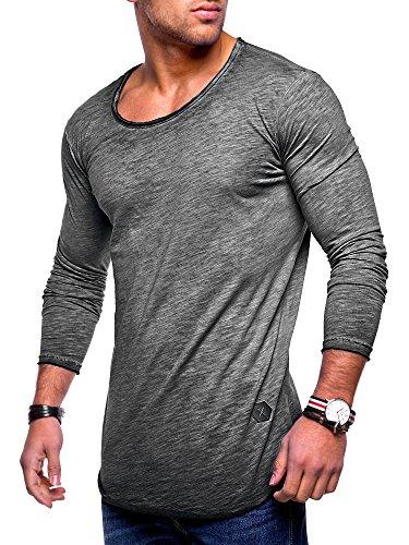 MT Styles Herren Oversize Longsleeve Crew Neck Sweatshirt T-Shirt MT-7315 (Dunkelgrau, M)