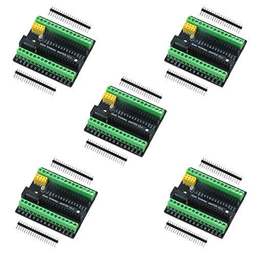 keywish Tarjeta de Adaptador de expansión de Terminal Nano para Arduino Nano V3.0 AVR ATMEGA328P con Interfaz de expansión NRF2401 +, Interfaz de Fuente de alimentación de CC (5PCS)