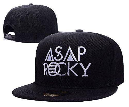 Sianda Asap Rocky Logo ricamato cappello Cappellino Snapback, Uomo, Black Hat, Taglia unica