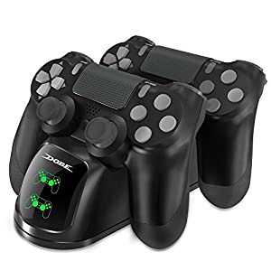 DOBE Controller Ladestation für PS4, Dual Dualshock PS4 Charger mit LED Anzeige für PlayStation 4/PS4 Slim/PS 4 Pro Wireless Controller