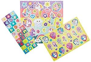 Totum 71384 - Juego de Pegatinas de Unicornio, Aprox. 50 Piezas y 1 Escena de cartón, Multicolor