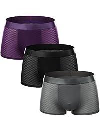 Men's Boxer Shorts - Ice Silk & Transparent - Mens Underwear Slim Boxer Briefs Underpants(3 Pack)