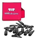 HAARallerliebst 20 Haarspangen Haarklammern Haarclips schwarz klein 3,9cm in Pinker Schachtel