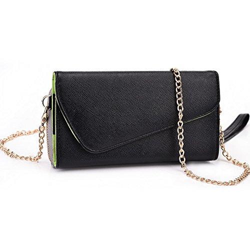 Kroo d'embrayage portefeuille avec dragonne et sangle bandoulière pour Alcatel ot-991d Smartphone Green and Pink Noir/gris