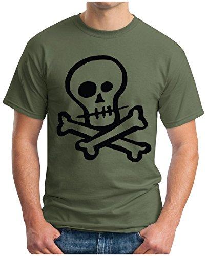 OM3 - SKULL - T-Shirt Punk Rockabilly Gothic Dead Metal Rock HELL 666 EMO INDIE, XL, oliv (T-shirt Rock Emo)