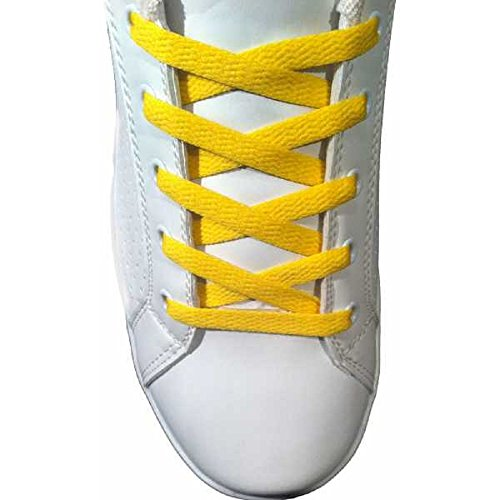 Paire Lacets Plats chaussures Jaune - 150 cm 8 mm - basket tennis sneakers
