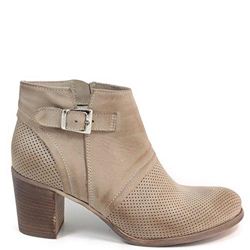 Stivaletti Tronchetti Ankle Boots Estivi Traforati con Tacco 0207 in Vera Pelle Nabuk Color Elefant Made in Italy