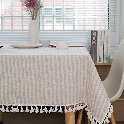Andrui tovaglia moderna e semplice blu rosso beige stripe tavolo da pranzo tovaglia rettangolare, panno wedding party hotel tovaglia di cotone lino multi taglie lacy tovaglia casa decorazione, beige, 140x200cm(55x79 inch)