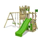 FATMOOSE Ritterburg BoldBaron Boost XXL Spielturm Kinder-Spielplatz mit Schaukel und Rutsche, extrabreitem Sandkasten und Podest
