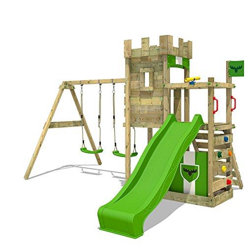 FATMOOSE Aire de jeux BoldBaron Boost XXL Tour de jeux pour enfants avec balançoire et toboggan, bac à sable et...