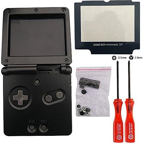 iMinker Completi Parti di ricambio della copertura della cassa pacchetto Shell d'abitazione con strumenti open per Nintendo Gameboy Advance SP, GBA SP (Nero)