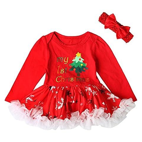 Funnycokid Neugeborene Baby Mädchen Weihnachten Spielanzug Tutu Kleid Outfit Stirnband